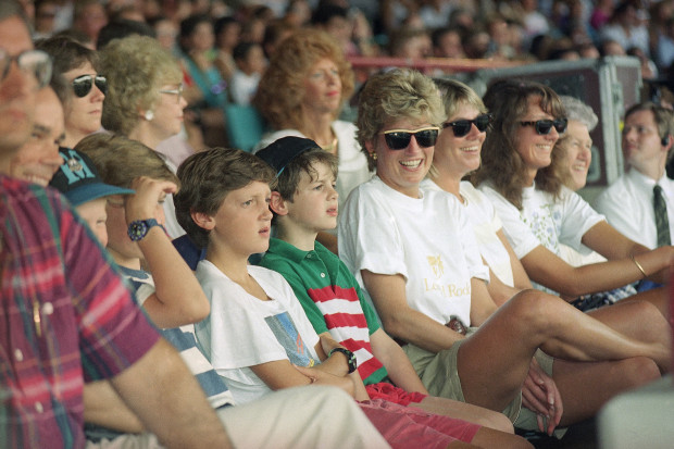 Princess Diana watches the Indiana Jones Stunt Spectacular at MGM Studios in Lake Buena Vista, Florida on August 25, 1993. Diana, Prince Harry, and Prince William are spending a few days of private vacation at Walt Disney World. (AP Photo/Peter Cosgrove)