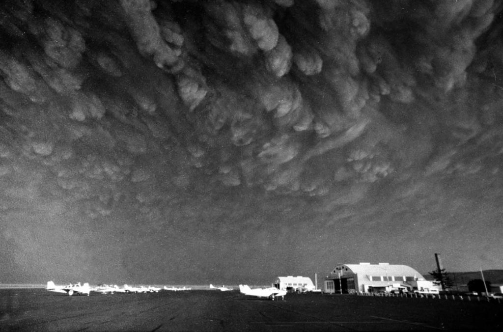 5 Ash clouds from Mount St. Helens move over Ephrata airport in Washington on Monday, May 19, 1980. Communities across central and eastern Washington were covered in 3-5 inches of gritty, fine, ash particles.
